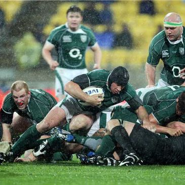 Denis Leamy carries the ball forward against the All Blacks