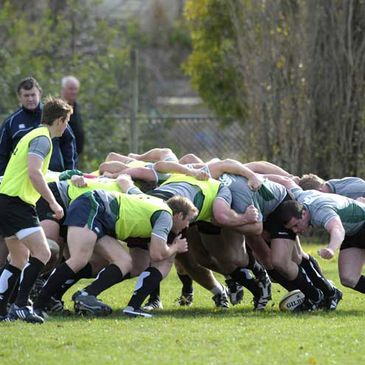 The Ireland forwards take part in a scrummaging session