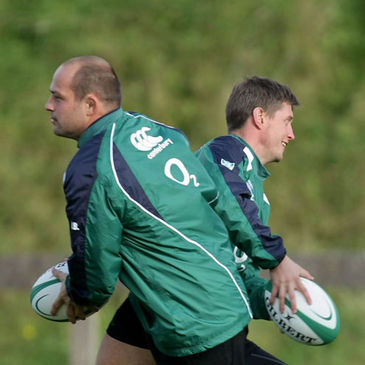 Rory Best and Ronan O'Gara training at UL