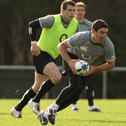 Paddy Wallace and Shane Jennings in action at training