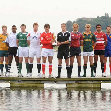 Some of the captains at the IRB Junior World Championship launch in Cardiff