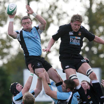 Ivan Muldoon wins a lineout ball for Galwegians against Ballymena