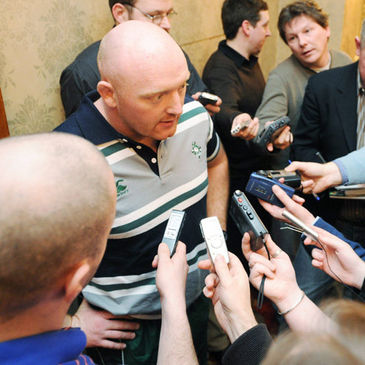 Bernard Jackman talking to journalists at the team hotel