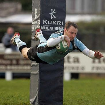Galwegians winger John Cleary scoring against Malone