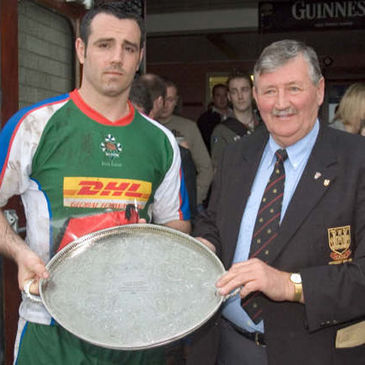 Exiles captain Jon Skurr with the 2006 Carrick Sevens title