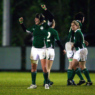 Joy Neville celebrates an opening win for the Ireland Women