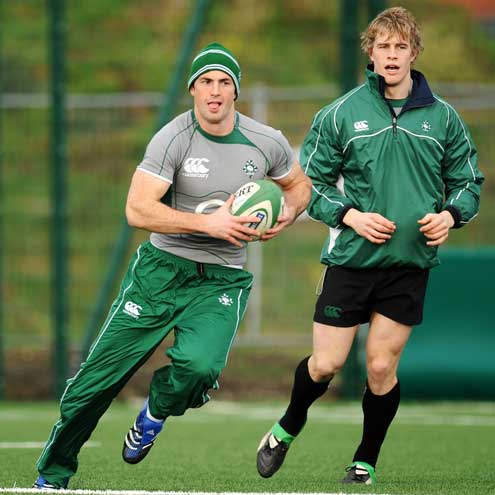 Rob Kearney and Andrew Trimble at training