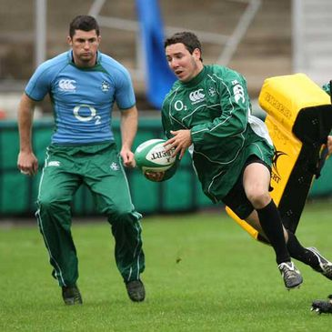 Rob Kearney and Paddy Wallace are pictured training at Kingsholm