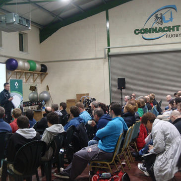 Kevin Cradock addresses the attendees at the IRFU Connacht fitness seminar