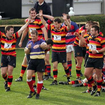 Lansdowne celebrate their win over Clontarf on the opening day of the season