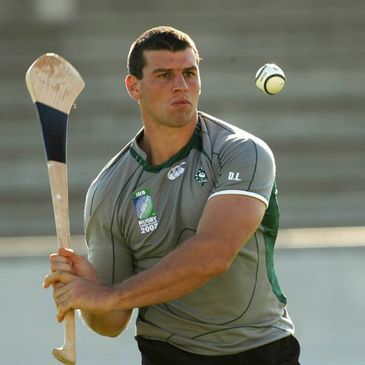 Denis Leamy practising his hurling skills