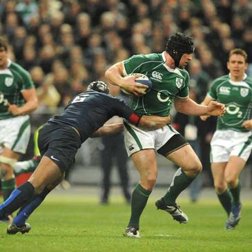 Ireland's Denis Leamy on the attack against France