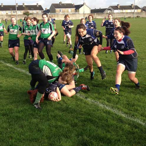 The Leinster Under-19 Girls score against Connacht