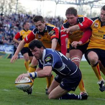 Shane Horgan touching down against the Dragons last weekend