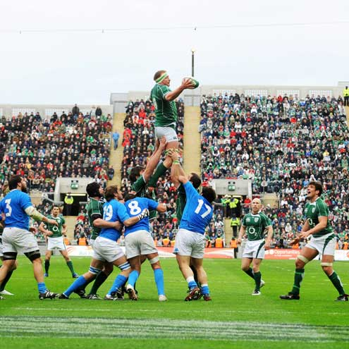 Mick O'Driscoll wins lineout ball for Ireland