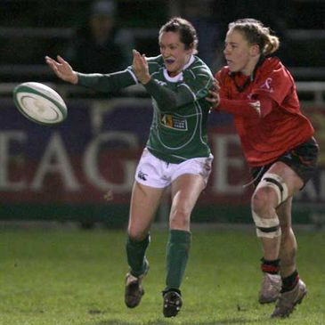 Ireland's Louise Beamish gets a pass away just in time