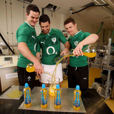 Jonathan Sexton, Rob Kearney and Brian O'Driscoll at the launch