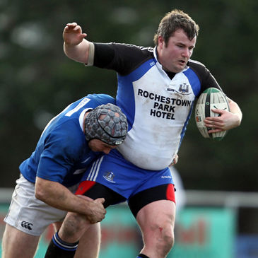 St. Mary's Hugh Hogan tackles Cork Con prop Martin Gately