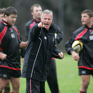 Ulster coach Matt Williams taking a training session at Newforge