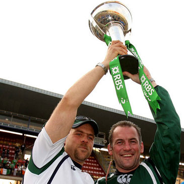Dan McFarland and Eric Elwood with the Under-20 Six Nations trophy
