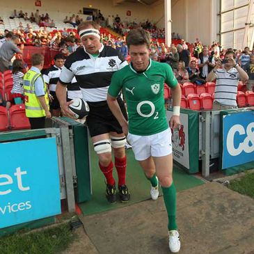 Mick O'Driscoll and Ronan O'Gara at Kingsholm