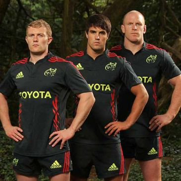 Keith Earls, Conor Murray and Paul O'Connell in the new Munster alternate kit