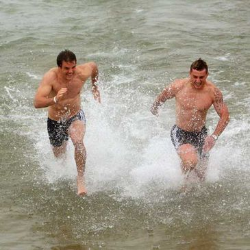 Barry Murphy and Jeremy Manning in Lake Michigan