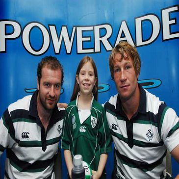 Geordan Murphy and Jerry Flannery pose with Susan Purdy from Ballyclare