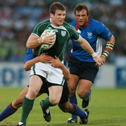 Gordon D'Arcy attacking the Namibian defence