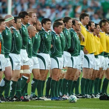 The Ireland squad line up before the Namibia match
