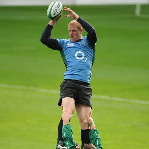 Paul O'Connell rising high at a training session