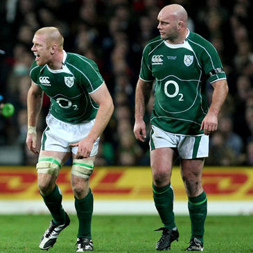 Paul O'Connell and John Hayes in action for Ireland