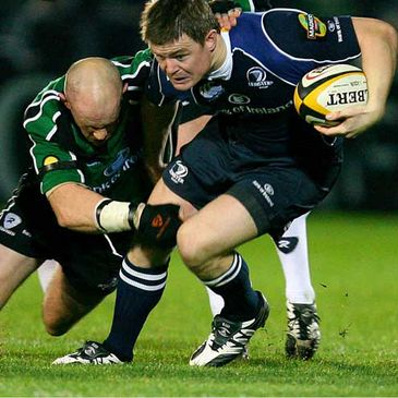 Leinster captain Brian O'Driscoll is tackled by Connacht's Johnny O'Connor