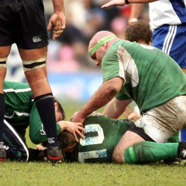 Ronan O'Gara is tended to at Murrayfield
