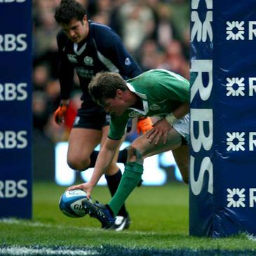 Ronan O'Gara touching down against Scotland in the Six Nations