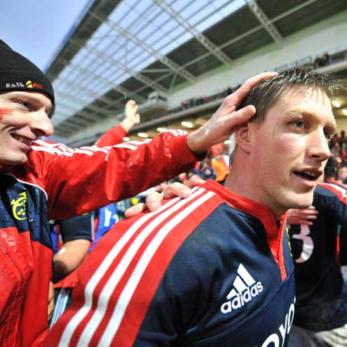 Ronan O'Gara is congratulated after a job well done