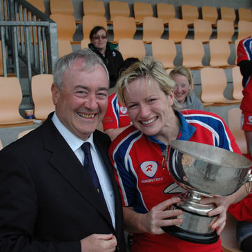 Patrique Kelly collects the Women's All-Ireland League title
