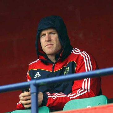 Paul O'Connell watches his Munster team-mates train