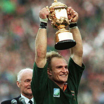 South Africa's Francois Pienaar lifts the 1995 Rugby World Cup