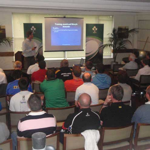 Paul Pook at the IRFU/Leinster fitness workshop