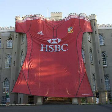 Blackrock College is enveloped by the largest Lions jersey ever made