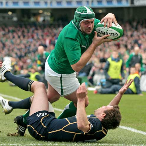 Rory Best in action for Ireland against Scotland