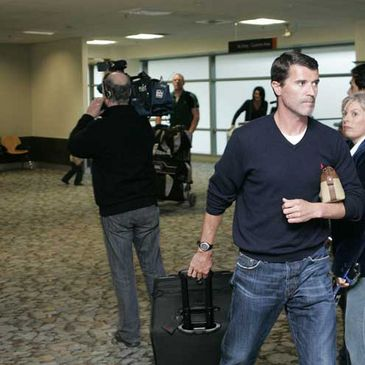 Roy Keane pictured arriving at Wellington Airport