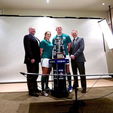 The Ireland coaches and captain at today's launch