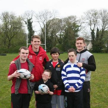 Craig and Paddy with some of the Stevenson Sharks players