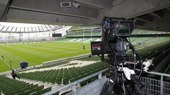 A Sky Sports camera at the Aviva Stadium