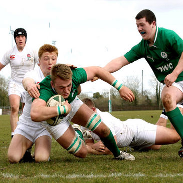 Lorcan Dow dives over to score for the Ireland U-18 Clubs side