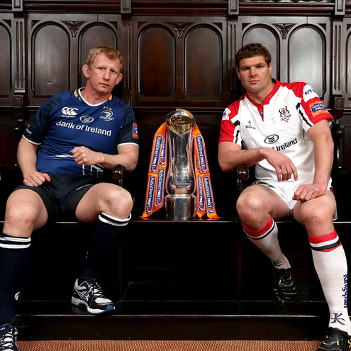 Captains Leo Cullen and Johann Muller with the trophy