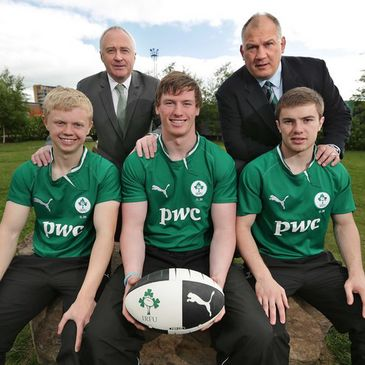 PwC's Ronan Murphy and Mike Ruddock with the Ireland U-20 players