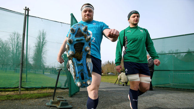 Cian Healy and Iain Henderson arrive for training